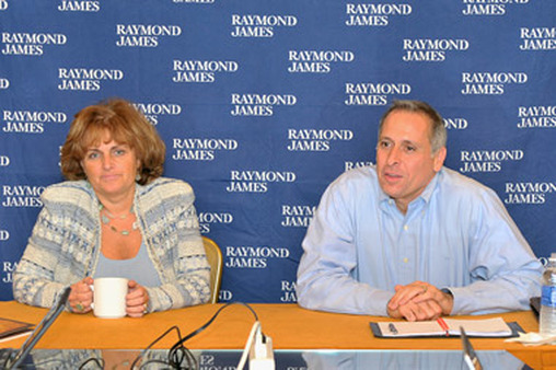 Bella Loykhter Allaire and Vin Campagnoli speaking at Raymond James' independent-advisor confab.