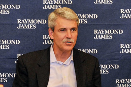 Raymond James CEO Paul Reilly addresses the press in Dallas during RJFS national conference.