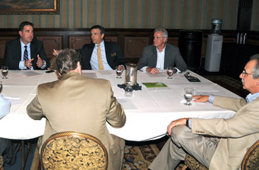 (From left) Tom Nally, Jim Dario, Michael Joyce and Ray Mignone speaking at a roundtable discussion.