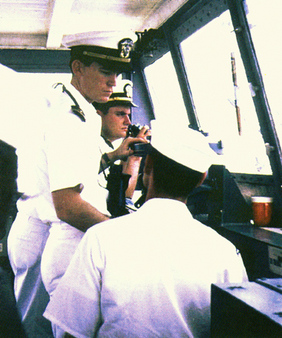 Bill Gross, center, during his Navy days.