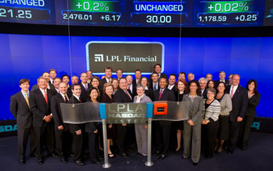 LPL executives celebrating the start of its IPO on Thursday. (© 2010, The NASDAQ OMX Group, Inc.)