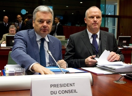 [Photo Credit: The Council of the European Union] Didier Reynders (left) and Carsten Pillath of the E.U.'s Economic and Financial Affairs Council at a meeting on Wednesday.