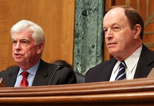 Sens. Chris Dodd (left) and Richard Shelby, R-Ala., at a committee hearing earlier this year.
