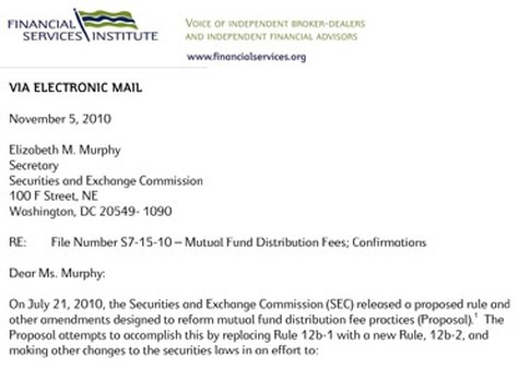 The FSI's comment letter e-mailed to the SEC on Friday.