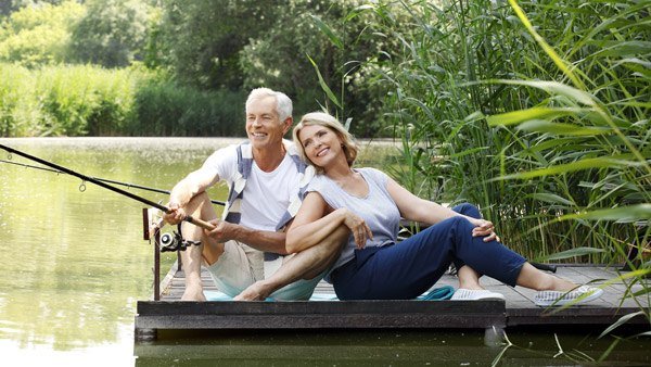 Retired couple fishing.
