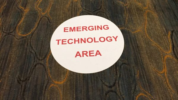 A floor sign at the T3 conference. (Photo: Jamie Green)