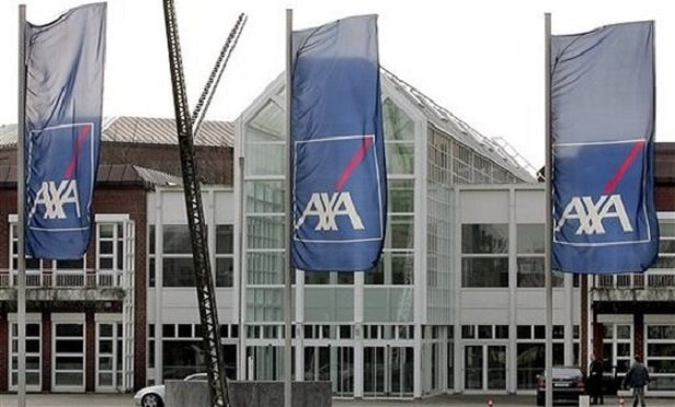 A building displaying AXA banners