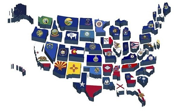 A map of all 50 states, with each state looking like its state flag ()Image: Thinkstock)