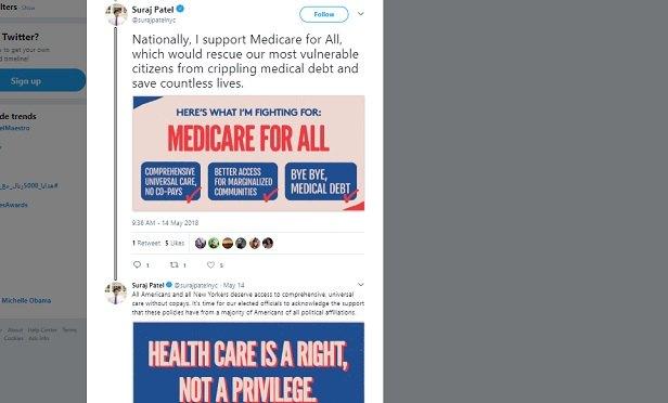 Suraj Patel tweets that health care is a right, not a privilege.