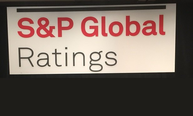 S&P Global Ratings banner, from a 2017 S&P conference in New York. (Photo: Allison Bell/TA)