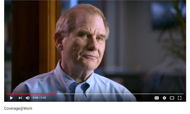 Screen capture from YouTube version of AHIP's Coverage @ Work campaign video.