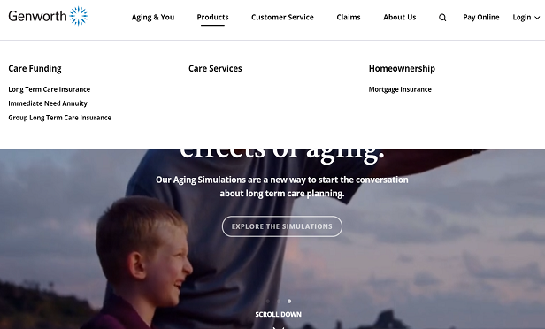 Genworth's new home page (Image: Genworth)