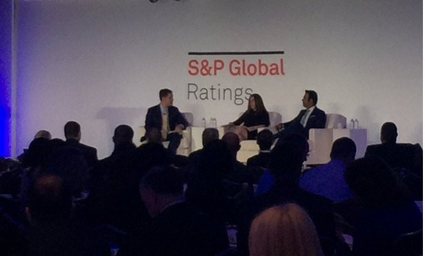 Rating analysts talk about what might come next for insurers in New York, at S&P's 2018 insurance conference. (Photo: Allison Bell/TA)