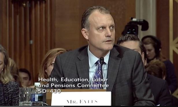 Matt Eyles of AHIP testifies at a Senate health cost hearing. (Photo: Senate HELP)