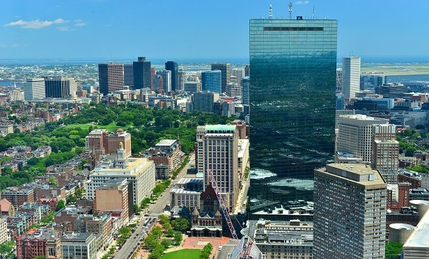 Aerial view of downtown Boston and Hancock Tower, Boston, MA, USA
