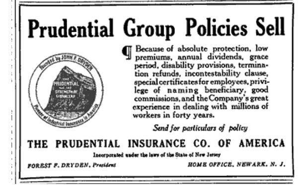 A Prudential ad that appeared in National Underwriter on Jan. 3, 1918.