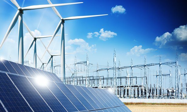 renewable energy sources - solar panels and windmills