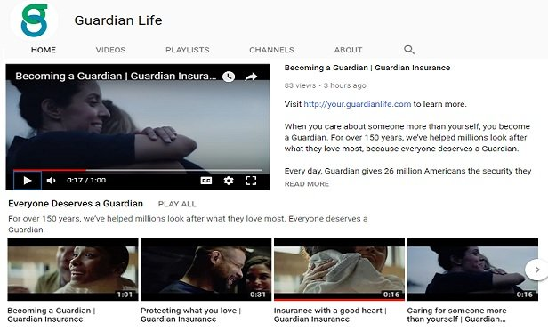 Guardian's YouTube page