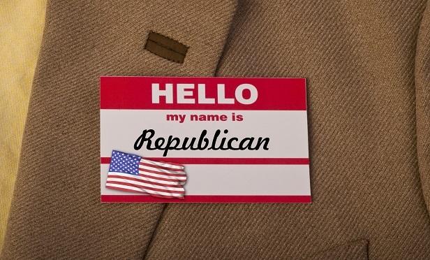 A Republican convention name badge