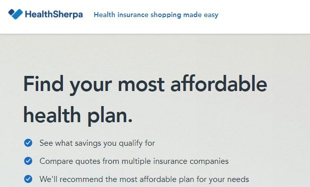 HealthSherpa's home page