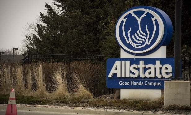 Signage is displayed outside Allstate Corp. campus in Northbrook, Illinois, U.S., on Sunday, Jan. 29, 2017. Allstate Corp. is scheduled to release earning figures on February 1. Photographer: Christopher Dilts/Bloomberg