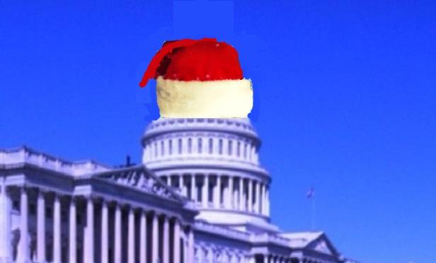 Capitol with a Santa cap