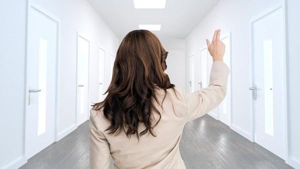 Businesswoman in a hallway