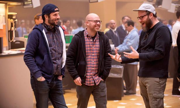 "Left to right: David Caspe, Jordan Cahan and Seth Rogen behind the scenes of ""Black Monday."" (Photo: Erin Simkin/Showtime)"