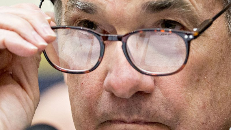 Closeup Bloomberg photo of Fed Chair J. Powell