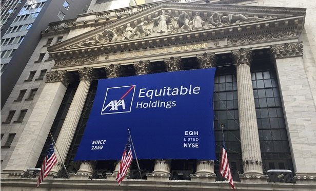AXA's banner on the New York Stock Exchange, on the day it went public (Photo: Allison Bell/TA)