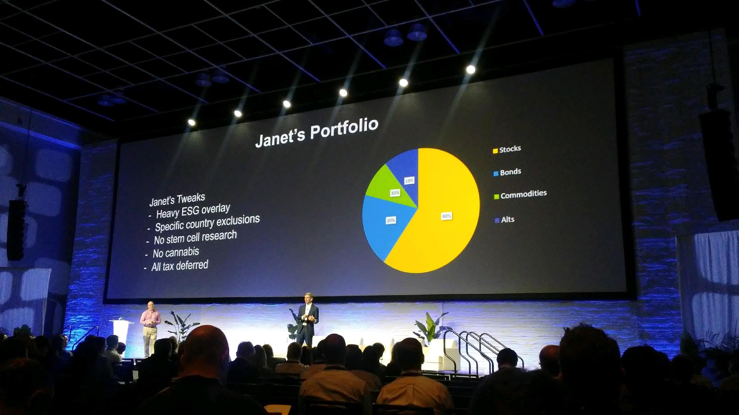"Mass customization is ""the next $100 billion advisor opportunity,"" Matt Hougan, left, said at Inside ETFs with Dave Nadig. (Photo: Janet Levaux/ALM)"