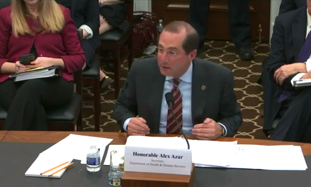 HHS Secretary Alex Azar (Photo: Screen Capture/House Appropriations)