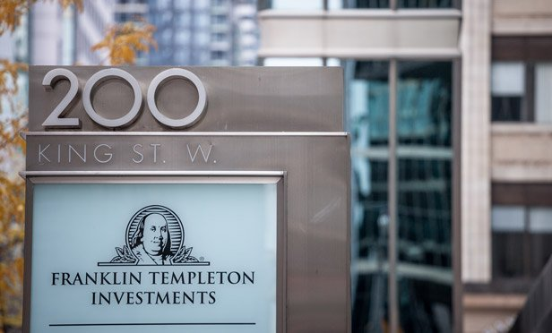 A Franklin Templeton office sign photographed by Bloomberg