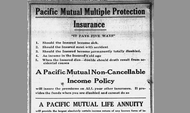 A Pacific Life annuity ad that ran in the Jan. 1, 1920, issue of the Wilkes-Barre Times Leader.