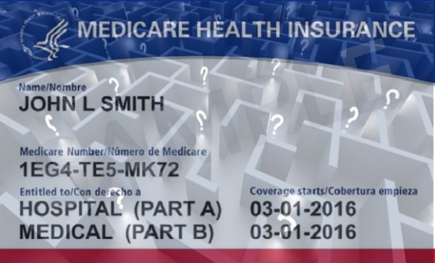 A Medicare card combined with a maze