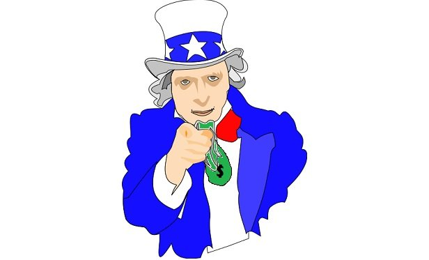 Uncle Sam offering a bag of money