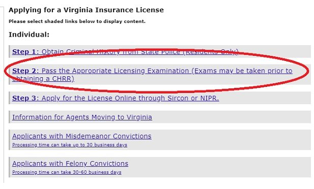 A screenshot of the Virginia Bureau of Insurance licensing start page, with the part about taking an exam circled