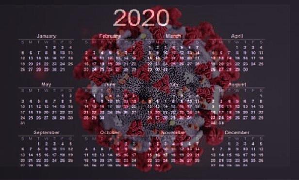 A SARS-CoV-2 virion with a 2020 calendar