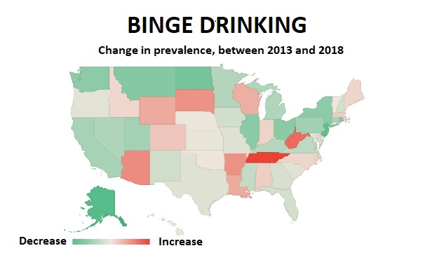 A USA map showing that Tennessee seems to have a lot of binge drinking, and so do West Virginia, Arizona and South Dakota. Alaska, Montana, the West Coast, and the East Coast look pretty sober (Credit: Allison Bell/ALM)