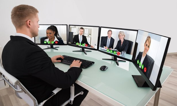 Businessman in a virtual meeting