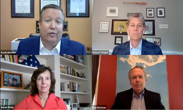 Kevin Mayeux (top left) moderated a Zoom webinar featuring Wayne Chopus (top right), Kenneth Bentsen Jr. (bottom right), and Susan Neely (bottom left). (Credit: NAIFA)