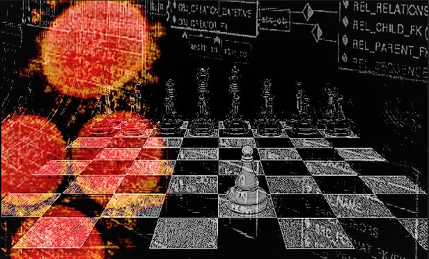 NIH SARS-CoV-2 microbes over a chessboard, with a software flowchart in the background.