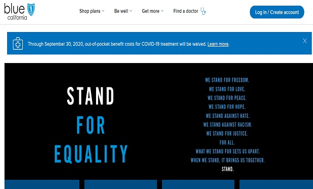 A screencapture of California Blue's homepage, which features a Stand for Equality statement