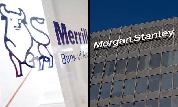 Signs on buildings of Merrill and Morgan Stanley