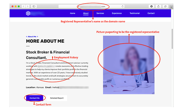 FINRA example of a fake broker site
