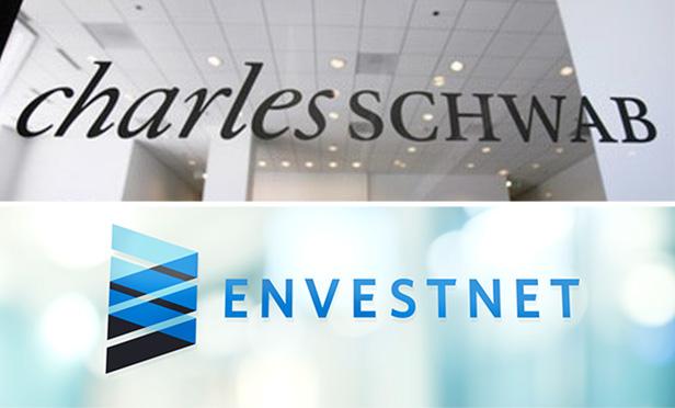 Corporate signs of Charles Schwab and Envestnet financial companies