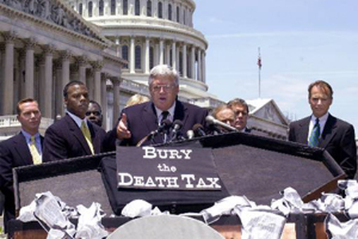 The death tax has spurred oppositon for years, as seen in this 2000 photo of House Speaker Dennis Hastert of Ill. (AP Photo/Dennis Cook)