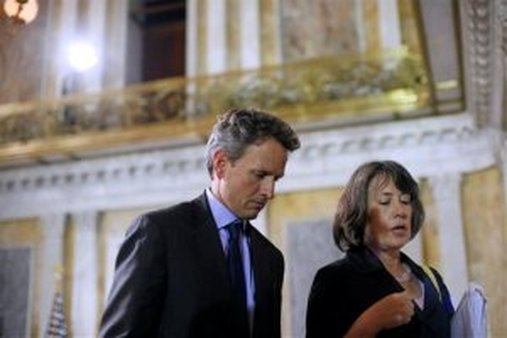 Treasury Secretary Timothy Geithner walks out with FDIC Chair Sheila Bair after hosting the FSOC first meeting in Oct., 2010. (AP Photo/Pablo Martinez Monsivais)