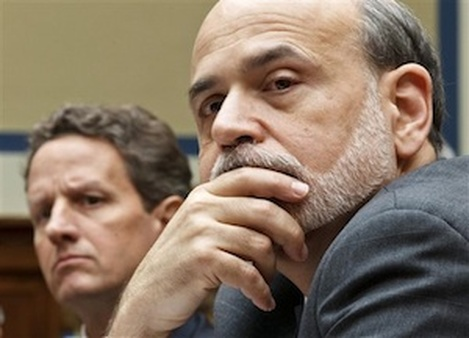 Federal Reserve Board Chairman Ben Bernanke, right, with Treasury Secretary Timothy Geithner. (AP Photo/J. Scott Applewhite)