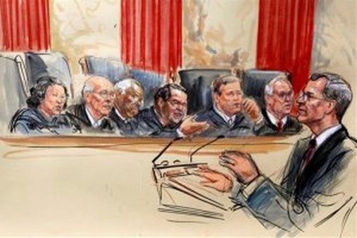This artist rendering shows opening arguments before the Supreme Court over PPACA. (AP Photo/Dana Verkouteren)